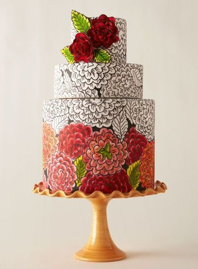 Fondant painted with food coloring. Pretty!! / wedding cakes ...
