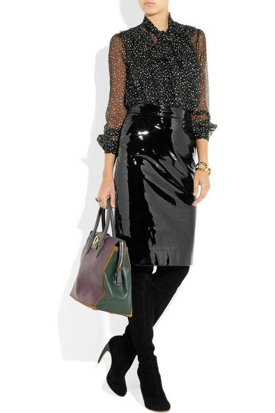 gucci patent leather pencil skirt womens apparel juxtapost