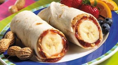 peanut butter and jelly banana roll up