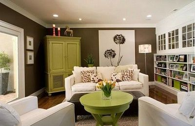 Chocolate brown walls white furniture pops of color - Tan furniture what color walls ...