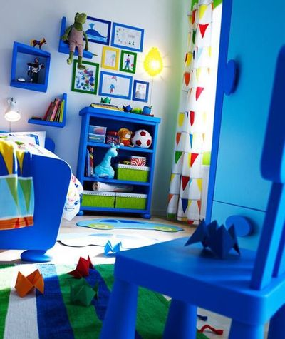 Blue Green Red And White Boys Bedroom
