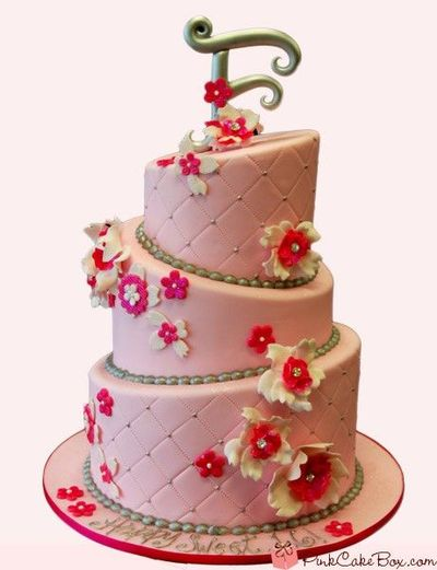 3 Tiered Pink Birthday Cake With Flower Decorations