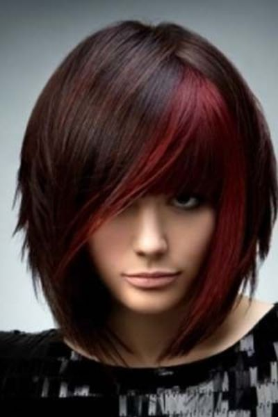 Dark brown hair with red chunking color / hair tips ...