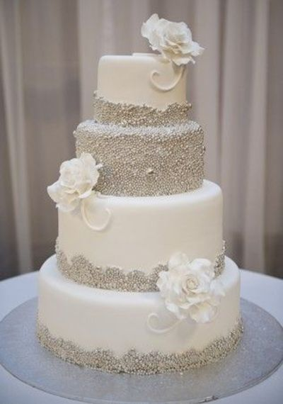 Sparkly wedding cake! I would love the pearls in rose gold and pale pink