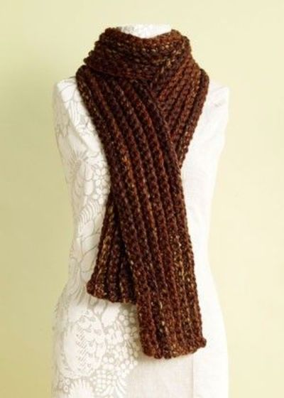 Crochet rib scarf. Don't like the color, but could be pretty