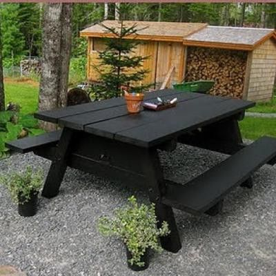 chalkboard paint on a picnic table this could be fun