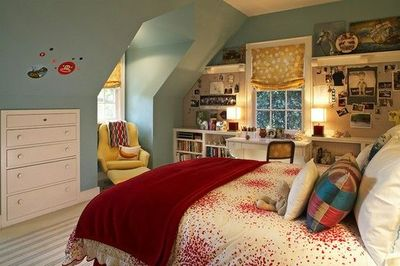 Fun colorful girl 39 s bedroom blue gray paint color yel for college juxtapost - Pics of girls bedrooms working desk years and over ...