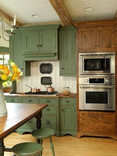 Green Country Kitchen With Table And Lighting Ah In A Diffe
