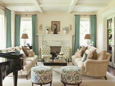Cream Black Dusty Turquoise. I love the furniture in this li ...