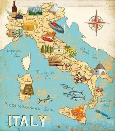 Map Of Italy By Gumbo Illustration Maps Italy Illustratio