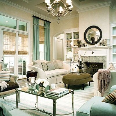 Southern Living seafoam green modern french living room desi ...