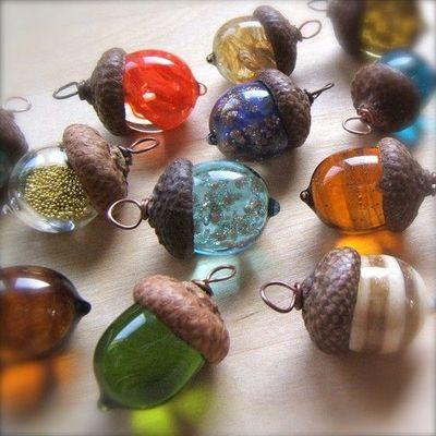 Glass Acorn Pendants by bullseyebeads #Acorn #Pendant #Beads #bullseyebeads