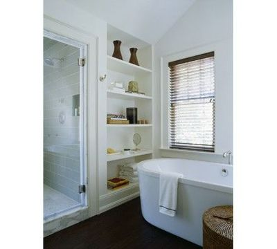 Robert stilin built in bathroom storage bath ideas for Bathroom built in shelving ideas