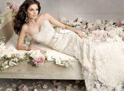 Taupe Lace Sleeveless Wedding Gown With Champagne Silk Tie A