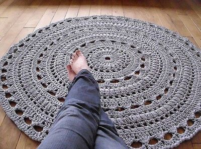 Handmade Chunky Crochet Mega Doily Rug Grey Love Need To Find A Pattern Like