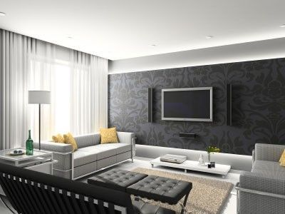 Grey Black Yellow White Living Room / For the home - Juxtapost