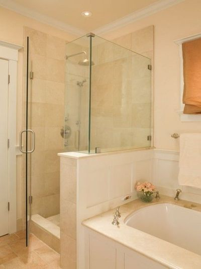 Separate shower and tub along same wall bath ideas for Bathroom designs 8x8