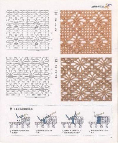 Crochet stitches; interesting variations on the Spiderweb stitch.
