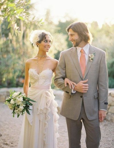 FANTASTIC DRESS, rosary necklace. #pink #white #grey #groom