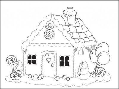 Gingerbread House Coloring Page  Preschool items  Juxtapost