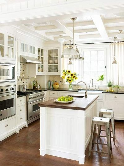 White cabinets warm wood countertop and floors stainless a for my kitchen juxtapost - Elegant italian style kitchen cabinets with timeless charm ...