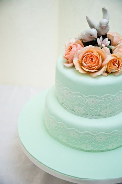 Mint Green Lace Orange Roses And Vintage Topper Wedding Cake
