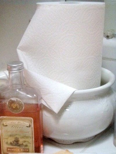 Paper towels make it quick work to tidy up a constantly used loo, and even encourages people to clean up after themselves!