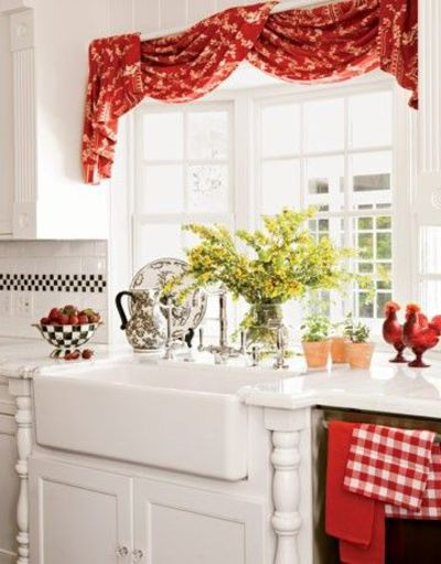 Red Window Treatments And French Country Farmhouse Sink