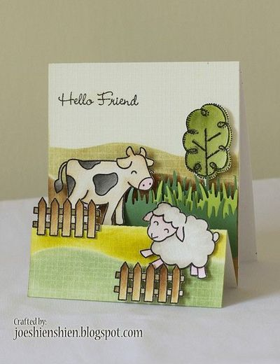 Hello Friend. Accordion fold card, cow and sheep, grass