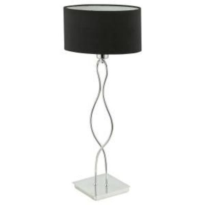 Black and silver table lamp with drum shade