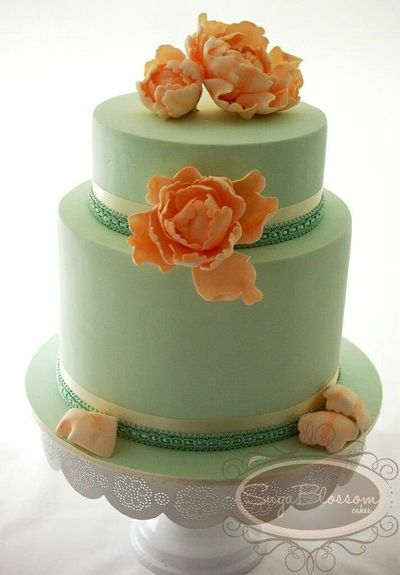 Mint Green And Peach Cake Wedding Cakes Juxtapost