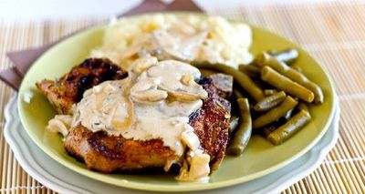 Cajun Grilled Pork Chops with Creamy Mushroom Pan Sauce. This sounds easy and yum!