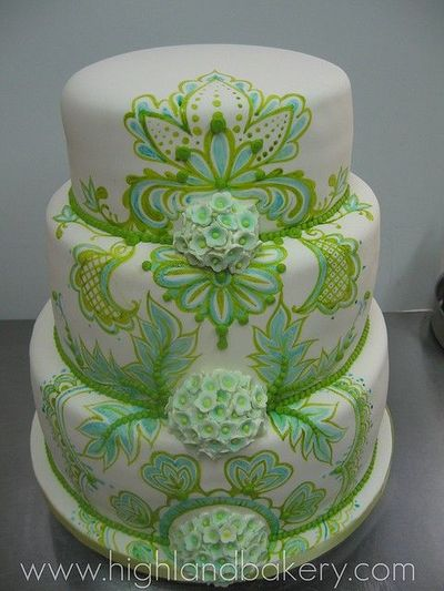 Turquoise and Lime Green wedding cake by Highland Bakery / wedding ...