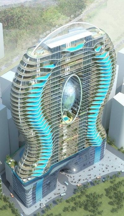 Zwembalkons in Mumbai. Each room has its own pool