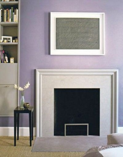 Fireplace without mantle for the home juxtapost for Lavender room color