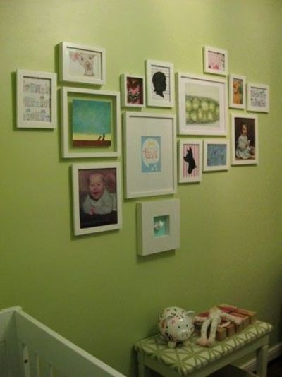 Nursery collage wall from YHL, again, similar colored frames for unity... is it necessary for us?