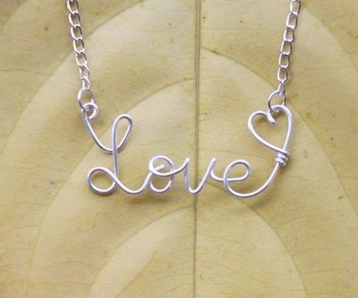 Love Wire Word Necklace With Heart