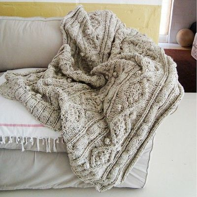 KNITTING PATTERN for chunky cotton cable knit throw / knits and kits - Juxtapost