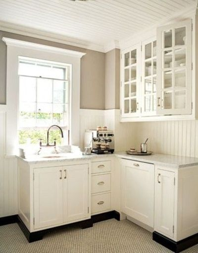 Kitchens With Wood Paneling: White Kitchen With Beadboard Ceilings