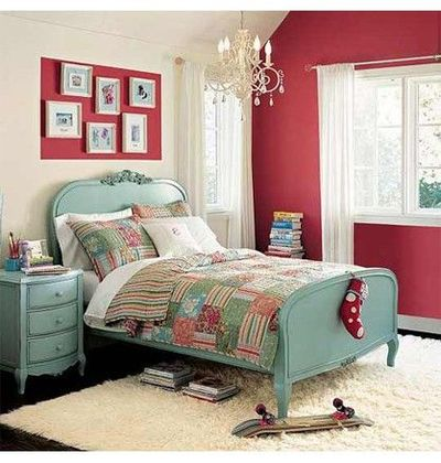 Turquoise, Red, Cream / For the bedroom - Juxtapost