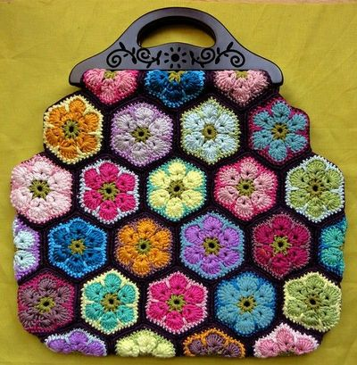 African Flower Crochet Purse Part 2 Pictures to pin on ...