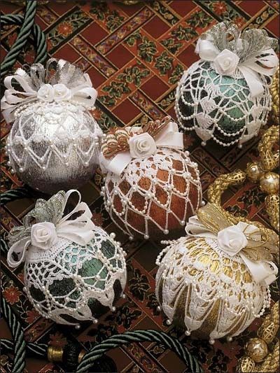 Free Crochet Patterns For Christmas Ball Covers : Crochet beaded ornament covers from e Patterns Central ...