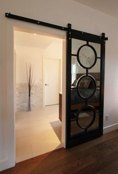 Pocket Door alternative! Barn door track and hardware. Brilliant! Goodbye  horrible bi-