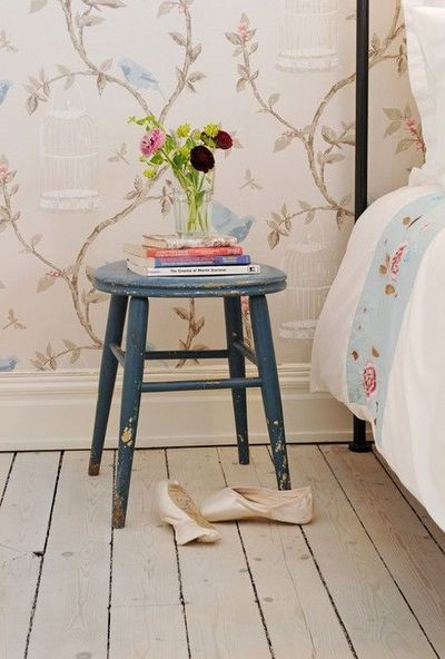 Stool Bedside Table: Old Stool Used As Small Bedside Table Etc & Added Blue A