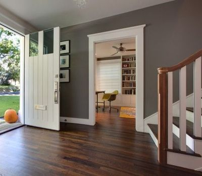 white trim gray walls and dark wood floors recipes