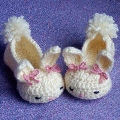 Free Crochet Pattern For Bunny Slippers : Baby bunny slippers crochet pattern - Pattern for sale ...