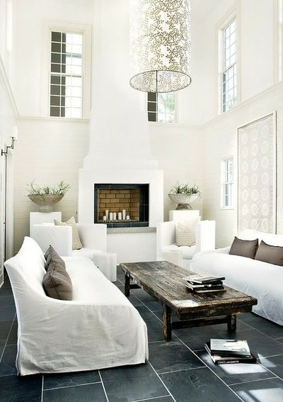Grey slate tile floors, white living room / For the home - Juxtapost