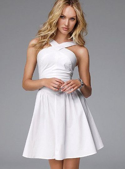 White Halter Casual Dresses