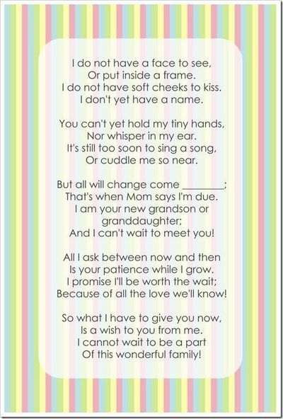 pregnancy poem for my baby's scrapbook