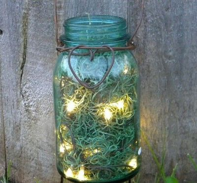Mason jar, spanish moss, baling wire battery operated LED st... / Walls stash - Juxtapost
